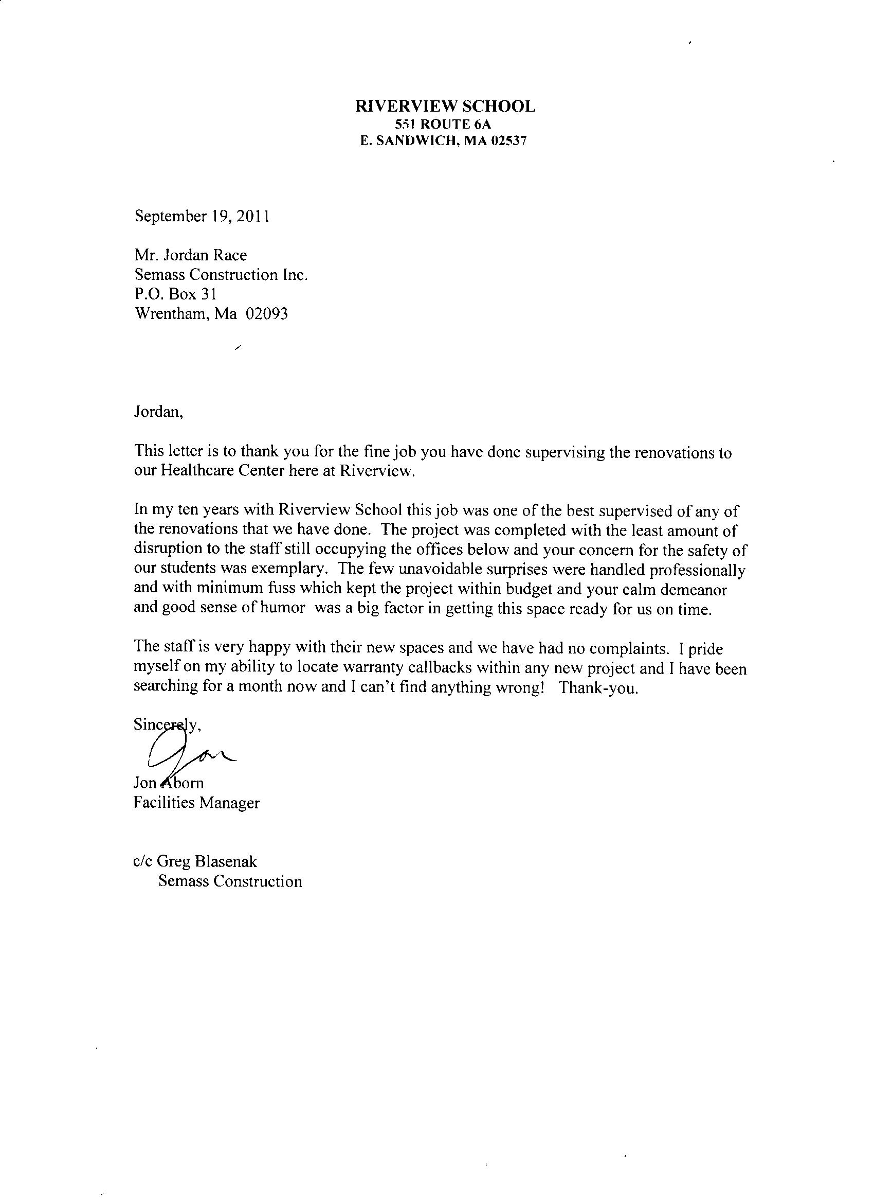 construction warranty letter